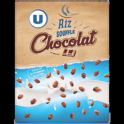 Riz soufflé U enrobé de chocolat, riches en vitamines paquet 375g
