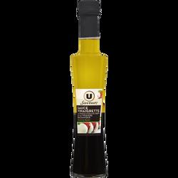 Sauce vinaigrette à l'Huile d'Olive 50% et au Vinaigre Balsamique Extrait de basilic U SAVEURS, bouteille de 20cl