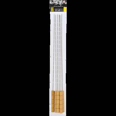 Brochettes U, en inox, manche en bambou, 42cm