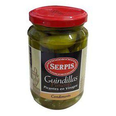 Guindillas , Piments Vert  piquants au vinaigre, bocal de 130G - SERPIS