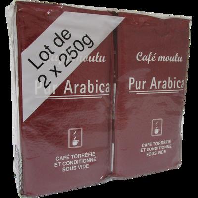 Café moulu pur arabica, 2 paquets, 250g