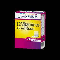 JUVAMINE 12 VITAMINES + 9 MINÉRAUX, 30 comprimés à avaler