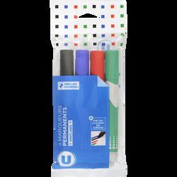 Marqueur permanent U pointe large x4-coloris assortis