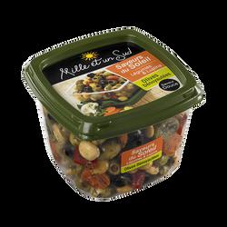 Cocktail d'olives dénoyautées saveurs du soleil légumes et lupins MILLE ET UN SUD, barquette de 400g