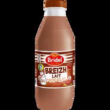 Lait pasteurisé 1/2 écrémé chocolat BRIDEL, bouteille de 1 litre