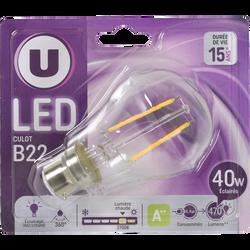 Ampoule LED déco ronde, U, 40w, B22 C