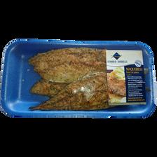 Filet de maquereau, Scomber scombrus, fumé aux herbes, pêché en Atlantique Nord Est, barquette 250g