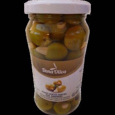 Olives vertes farcies aux amandes calibre 241/260, DONA OLIVA, 210g
