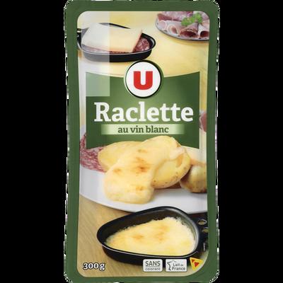 Fromage pour raclette au lait pasteurisé frottée au vin blanc U, 28% de MG, 300g