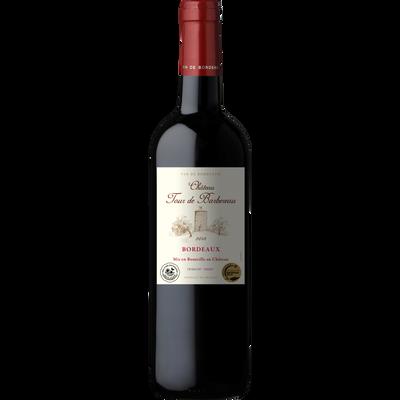 Bordeaux AOP Château Tour de Barbereau rouge médaille d'or 2019 HVE 2018, bouteille de 75cl