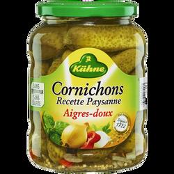 Cornichons aigres doux recette paysanne KUHNE, 72cl 360g