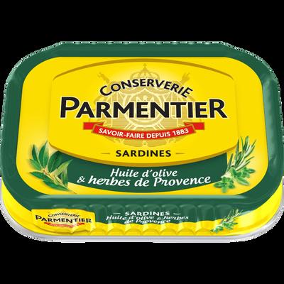 Sardines à l'huile d'olive et herbes de Provence PARMENTIER, 135g