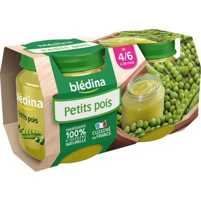Pot pour bébé petits pois BLEDINA, dès 4-6 mois, 2x130g