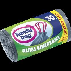 Sacs poubelles avec poignées coulissantes ultra résistantes HANDY BAG,30l, x15 +5 offerts