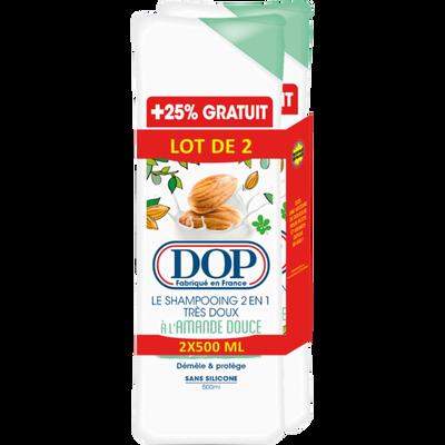 Shampoing 2 en 1 à l'amande douce DOP, 2 flacons de 500ml