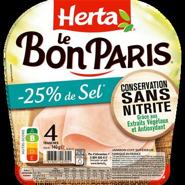 Herta Jambon Le Bon Paris -25% De Sel Conservation Sans Nitrite Herta 4 Tranches 140g