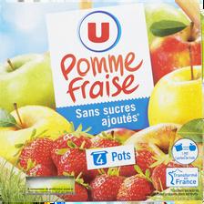 Spécialité fruits sans sucres ajoutés pomme fraise U, 4x100g