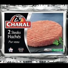 Haché de veau, 15% MAT.GR., CHARAL, France, 2 pièces, 200g