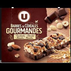 Barres de céréales chocolat cacahuètes U, 140g