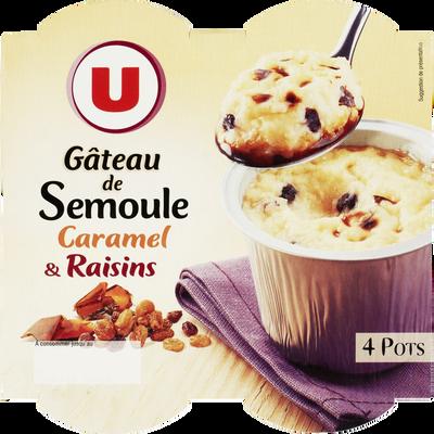 Gâteau de semoule aux raisins nappé caramel U, 4x100g
