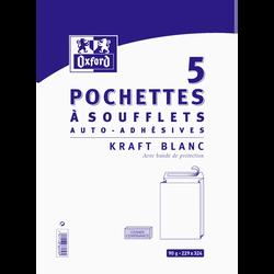 PochetteS Kraft à soufflets auto adhésive OXFORD, 22,9x32,4cm, blanche, 5 unités