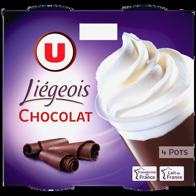 Dessert liégois chocolat et crème fouettée U, 4x100g