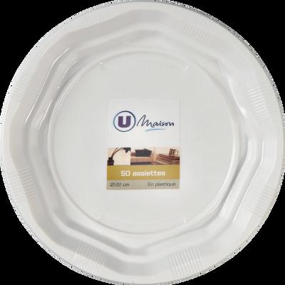 Assiette en plastique U MAISON, 22cm, blanc, 50 unités