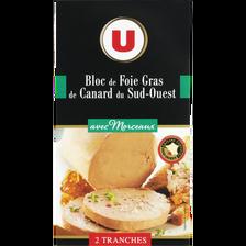 Bloc de foie gras de canard du Sud Ouest 30% de morceaux U, 2 tranches, 80g