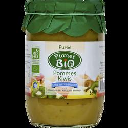 Purée de pommes kiwis sans sucres ajoutés bio PLANET BIO, 630g
