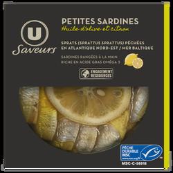 Mini sardines citron huile olive U SAVEURS, 120g