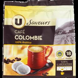 Café moulu de Colombie 100% arabica U SAVEURS, 18 dosettes, 125g