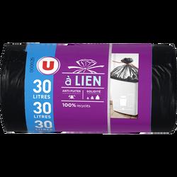Sacs poubelle 100% recyclé lien classique U, x20, 30l