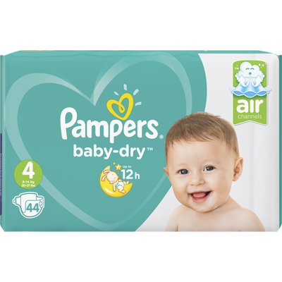 Couches baby dry maxi taille 4, 9 à 14kg PAMPERS, x44