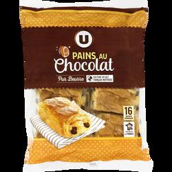 Pains au chocolat pur beurre U, 16 unités, 720g
