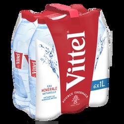 Eau minérale naturelle VITTEL, 6 bouteilles de 1l