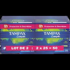 Tampon compak super TAMPAX, 2 paquets de 25
