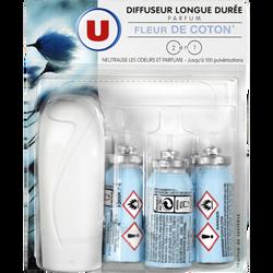 Mini diffuseur longue durée + 3 recharges parfum fleur de coton U