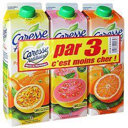 Lot de 3 boissons,parfums passion-goyave-orange CARESSE ANTILLAISE, 3x1l