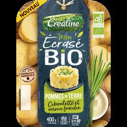 Ecrasé Pomme de terre ciboulette crème fraîche, BIO, CREALINE, barquette 2X200g