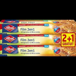 Film alimentaire 2 en 1 Albal, 20m, 2+1 offert
