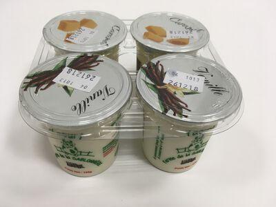 Yaourts au lait partiellement écrémé de vaches, vanille ou caramel, FERME DE LA SABLONNIERE, 2.6%mg, 4x125g