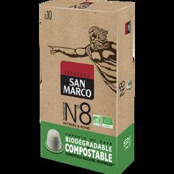 Café n°8 bio compostable SAN MARCO, paquet de  10 capsules