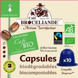 Café équitable BIO BROCELIANDE, 10 capsules de 50g
