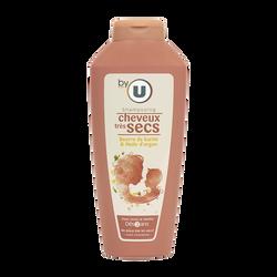 Shampoing familial au beurre de karité et à l'huile d'argan pour cheveux très secs BY U, flacon de 500ml