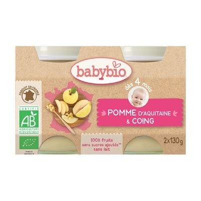 BABYBIO Pomme Coing 2X130 GRS