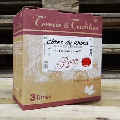 Côtes du Rhone rouge AOP, bag in box de 3l