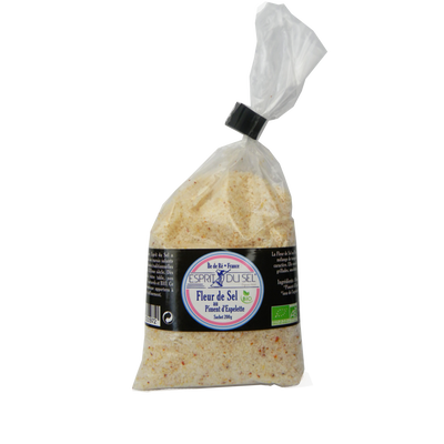 Fleur de sel piment d'Espelette BIO CROQUE AU SEL, sachet de 200g