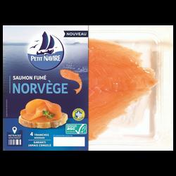 Saumon Atlantique élevé en Norvège fumé PETIT NAVIRE, x4 soit 120g
