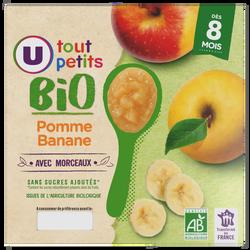 Pots pour bébé dessert pomme et banane avec morceaux Tout Petits Bio U, dès 8 mois, 4x100g