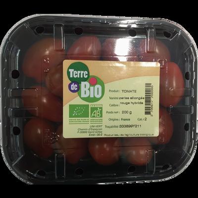 Tomate cerise allongée rouge, segment les cerises allongées, BIO, catégorie 2, France, barquette 200g